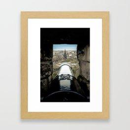 scott monument from Edinburgh castle gun Scotland Framed Art Print