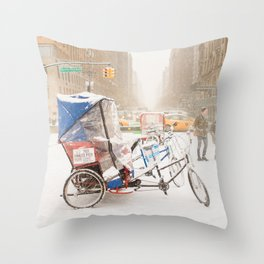 NYC Snow Day on Central Park West Throw Pillow