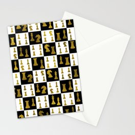 Chessboard and Gold Chess Pieces pattern Stationery Cards