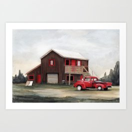 Red house, red truck Art Print