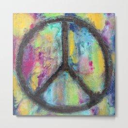 Tie Dye Peace Sign - Colorful Painting - Fluid Art Metal Print