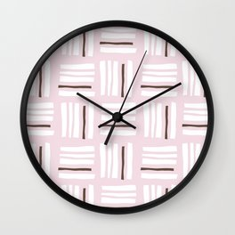 Stripes×Checkered Pattern_Dusty Pink&Chocolate Wall Clock