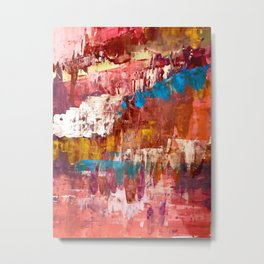 Desert Sun [5]: A bright, bold, colorful abstract piece in warm gold, red, yellow, purple and blue Metal Print