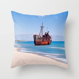 Shipwreck near to Gytheio in Laconia, Greece Throw Pillow
