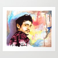 james franco Art Prints featuring James Franco by Anguiano Art