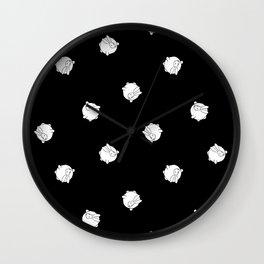 Round Bunny Pattern- White Black Wall Clock