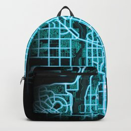 Glendale, AZ, USA, Blue, White, Neon, Glow, City, Map Backpack