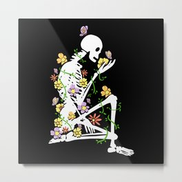 Farm Skeleton Plants Nature Flowers Design Metal Print