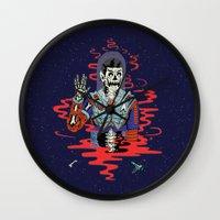spock Wall Clocks featuring Dead Spock by Sam Jones Illustration