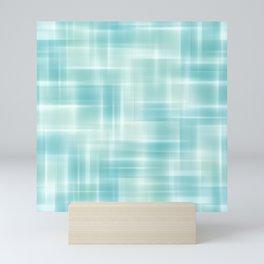 Elegant Chic Light Pastel Blue Retro Squares Zigzag Patern Mini Art Print