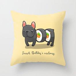 French bulldog maki sushi Throw Pillow