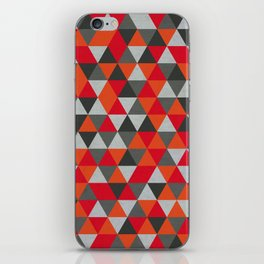 Hot Red and Grey / Gray -  Geometric Triangle Pattern iPhone Skin