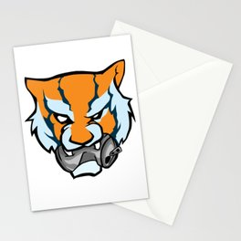 Tiger Head Bitting Beer Can Orange Stationery Cards
