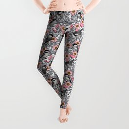 Chickadees in the wild rose, pink and gray Leggings