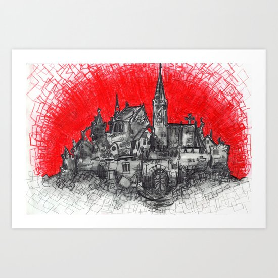 1991 - Imaginary French Village (High Res) Art Print