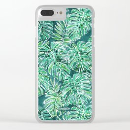 JUNGLE VIBES Green Monstera Watercolor Print Clear iPhone Case