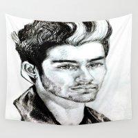 zayn malik Wall Tapestries featuring Zayn Malik drawing by Clairenisbet
