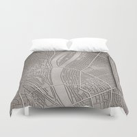 budapest Duvet Covers featuring papercut - Budapest by Colin Kiss