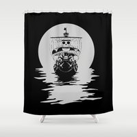 luffy Shower Curtains featuring Mugiwara Pirates by Anuktoy