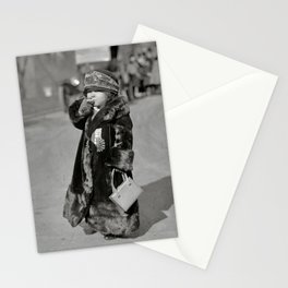 Future Little Mae West smoking a cigarette humorous black and white photography - photographs Stationery Cards