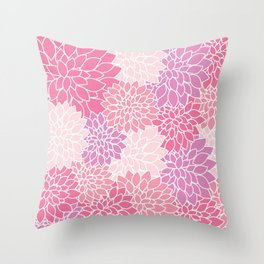 Dahlia Flowers, Petals, Blossoms - Pink Purple Throw Pillow