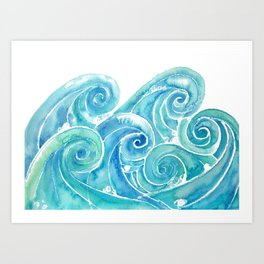 Watercolor Waves Art Print