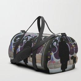 Woman and dog, graffiti Duffle Bag