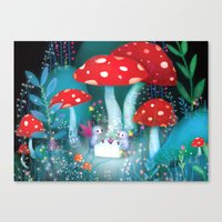 fireflies Canvas Prints featuring Fireflies by Lisa Evans