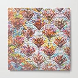 Watercolor Fan Tile in Warm Color Palette  Metal Print