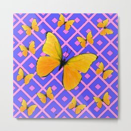 Decorative  Yellow Butterflies on Lilac & Pink Metal Print