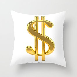 Gold Dollar Sign on White Throw Pillow