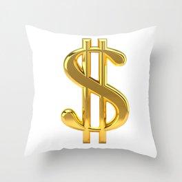 Gold Dollar Sign on White Throw Pillow