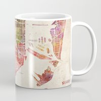 miami Mugs featuring Miami by Map Map Maps