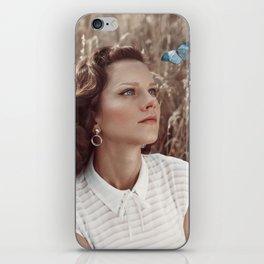 Blue Butterfly Portrait iPhone Skin