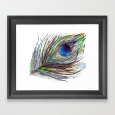 Peacock piece || watercolor Framed Art Print