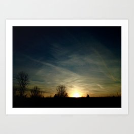 sunset out of car window Art Print