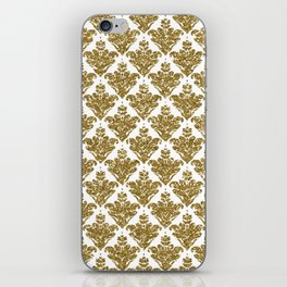 Faux White and Gold Glitter Small Damask iPhone Skin