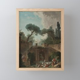 Hubert Robert - Stairway of Farnese Palace Park Framed Mini Art Print