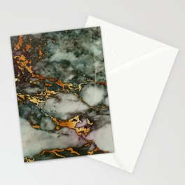 Gray Green Marble Glitter Gold Metallic Foil Style Stationery Cards