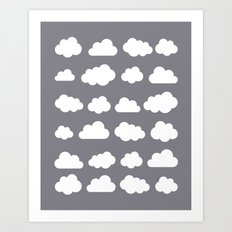 Grey clouds on grey winter skies Art Print