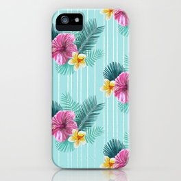 Cool blue base pink floral texture iPhone Case