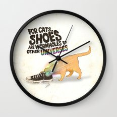 For Cats, Shoes are Wormholes to Other Universes Wall Clock
