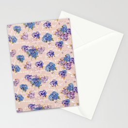 Hydrangeas on Blush with white French script and birds Stationery Cards