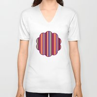 stripe V-neck T-shirts featuring Stripe Marly by Shelly Bremmer
