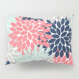 Flower Burst Petals Floral Pattern Navy Coral Mint Gray Pillow Sham