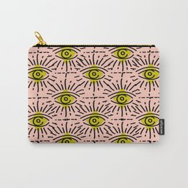 Dainty Seeing Eye Pattern in Chartreuse Carry-All Pouch