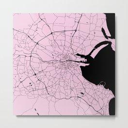 Dublin Ireland Pink on Black Street Map Metal Print
