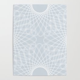 mathematical rotating roses - ice gray Poster