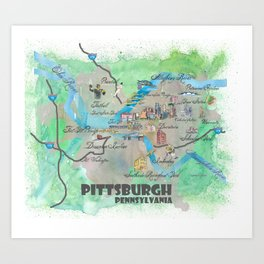 Pittsburgh Pennsylvania Fine Art Print Retro Vintage Map with Touristic Highlights Art Print