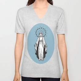 Virgin Mary Blue Unisex V-Neck